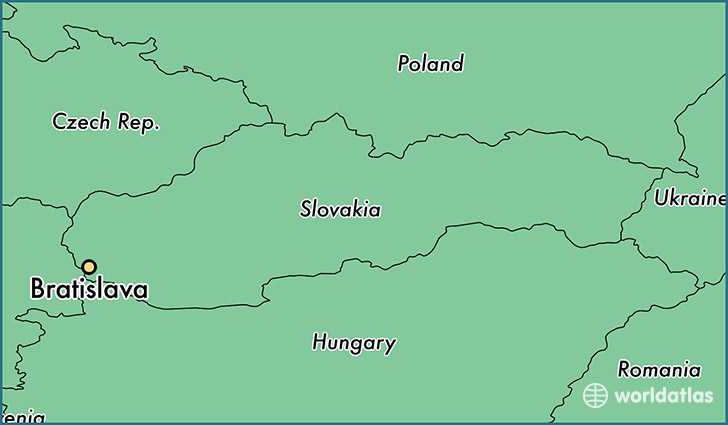 map showing the location of Bratislava