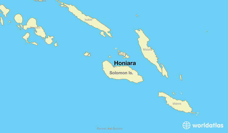 map showing the location of Honiara