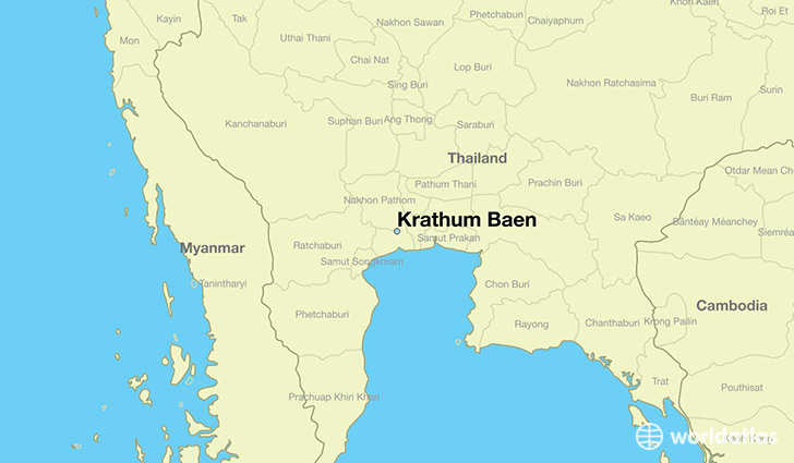 map showing the location of Krathum Baen