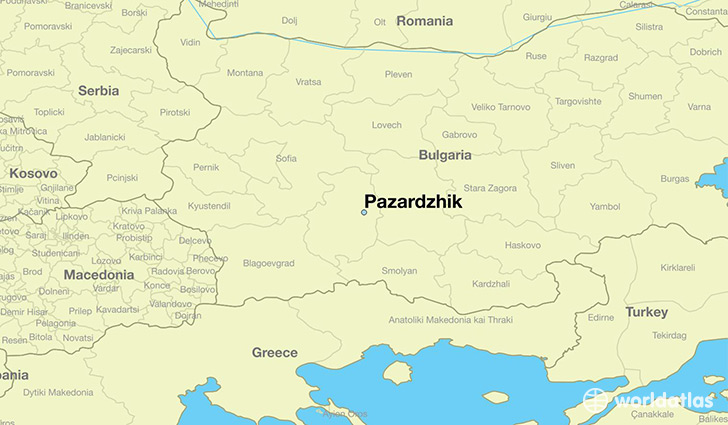 map showing the location of Pazardzhik