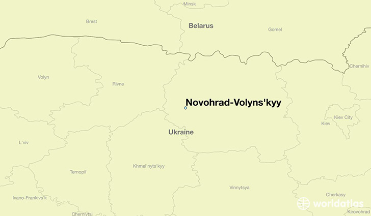 map showing the location of Novohrad-Volyns'kyy