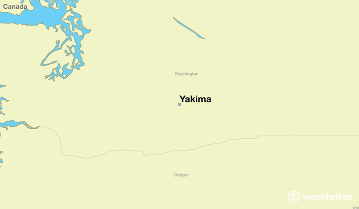 map showing the location of Yakima
