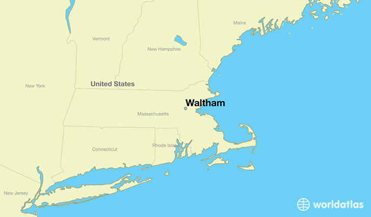 map showing the location of Waltham