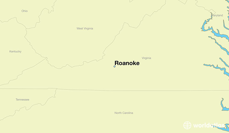 map showing the location of Roanoke