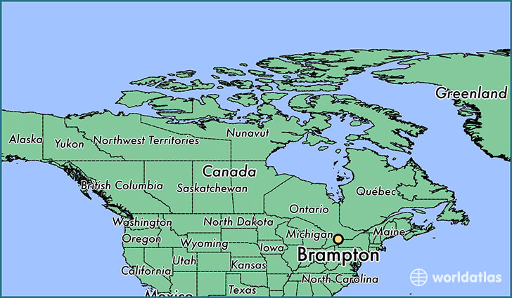 map showing the location of Brampton