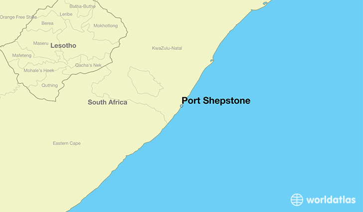 map showing the location of Port Shepstone