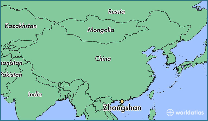 map showing the location of Zhongshan