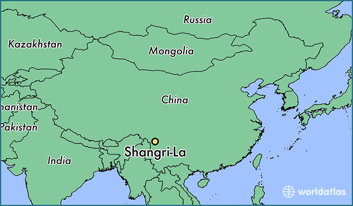 map showing the location of Shangri-La