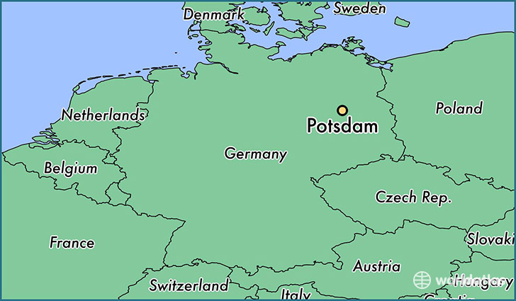 Where is potsdam germany potsdam brandenburg map worldatlas map showing the location of potsdam gumiabroncs Gallery