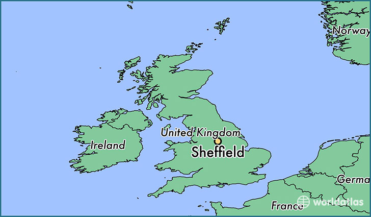 map showing the location of Sheffield