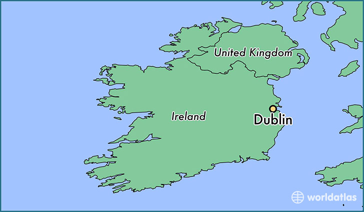 map showing the location of Dublin