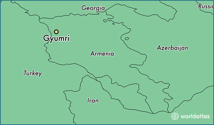 map showing the location of Gyumri