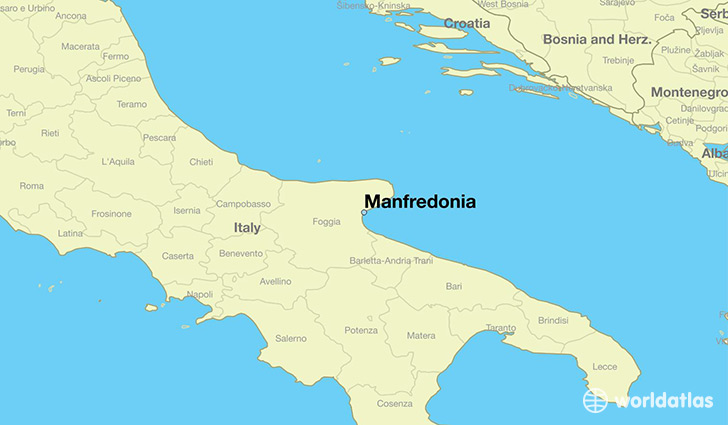 map showing the location of Manfredonia