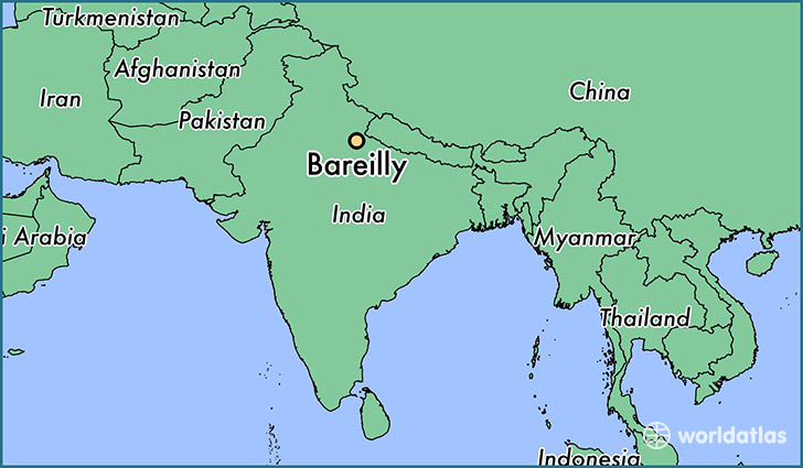 map showing the location of Bareilly