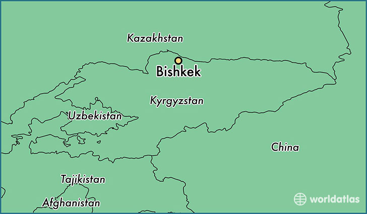map showing the location of bishkek