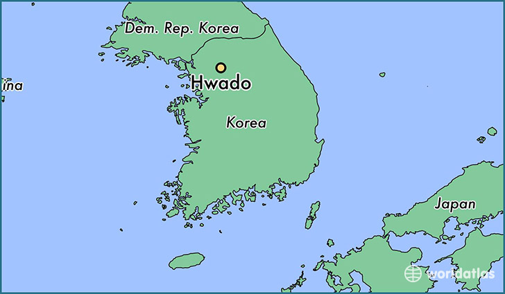 map showing the location of Hwado