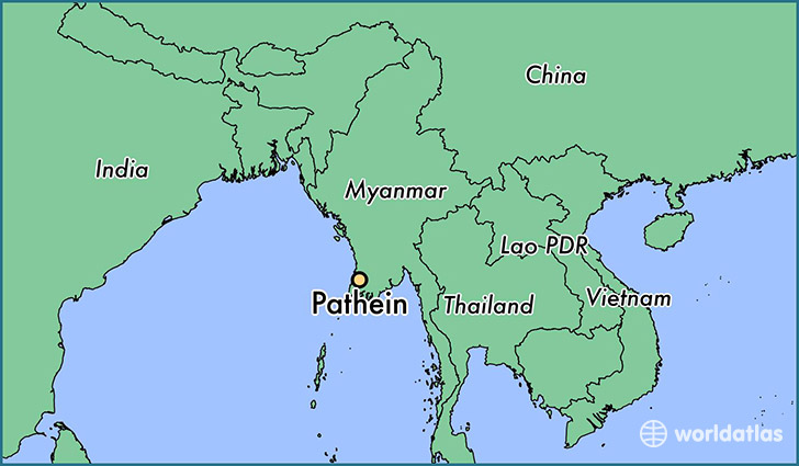 map showing the location of Pathein