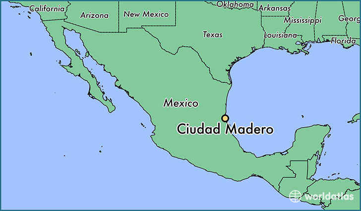 map showing the location of Ciudad Madero