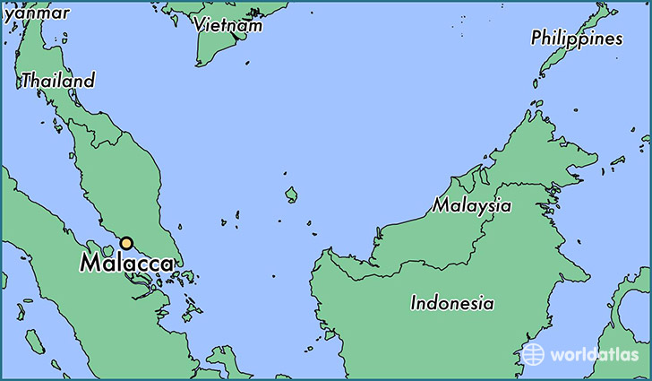 map showing the location of Malacca