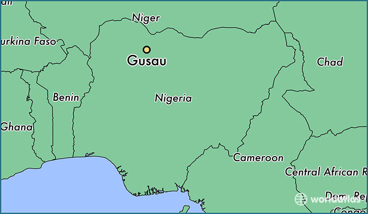 map showing the location of Gusau