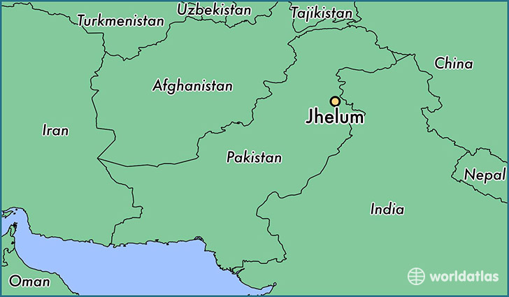 map showing the location of Jhelum