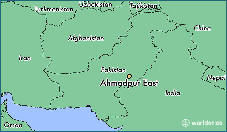 map showing the location of Ahmadpur East