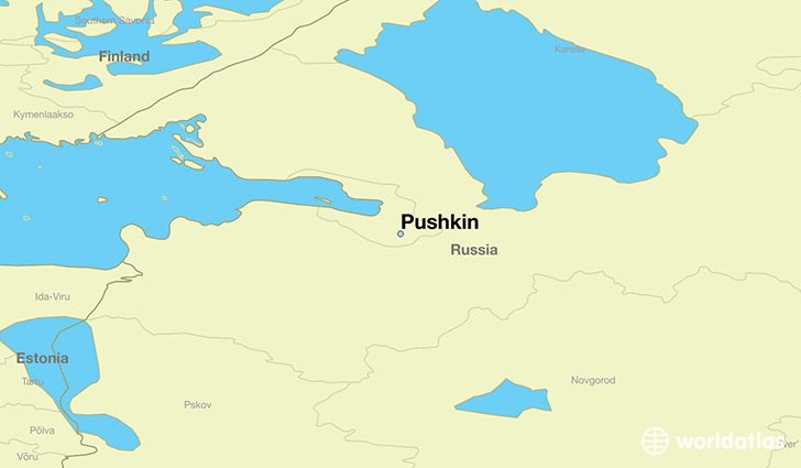 map showing the location of Pushkin