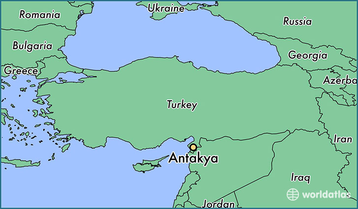 map showing the location of Antakya