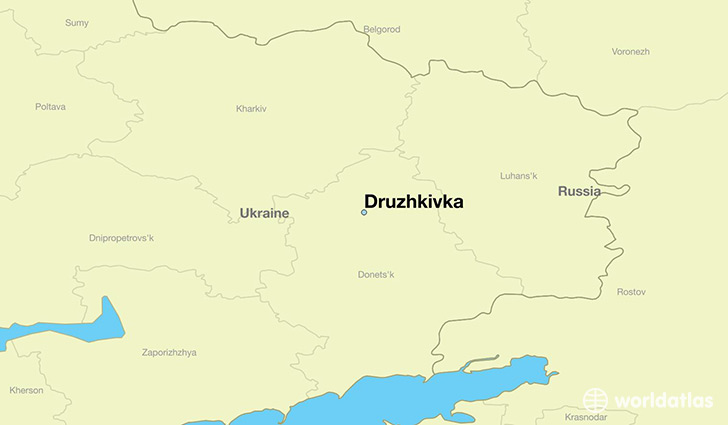 map showing the location of Druzhkivka