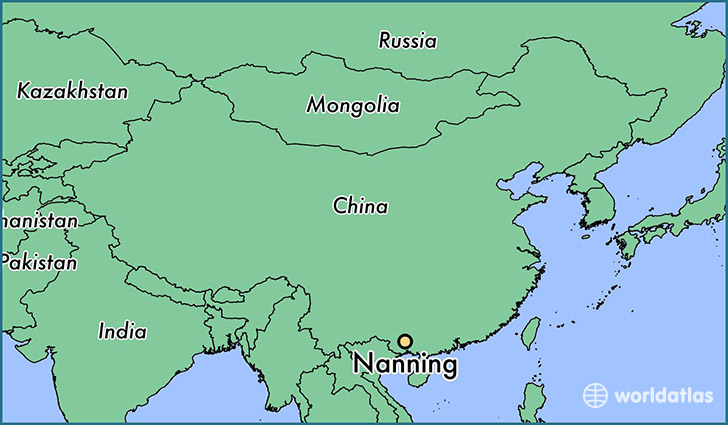 map showing the location of Nanning