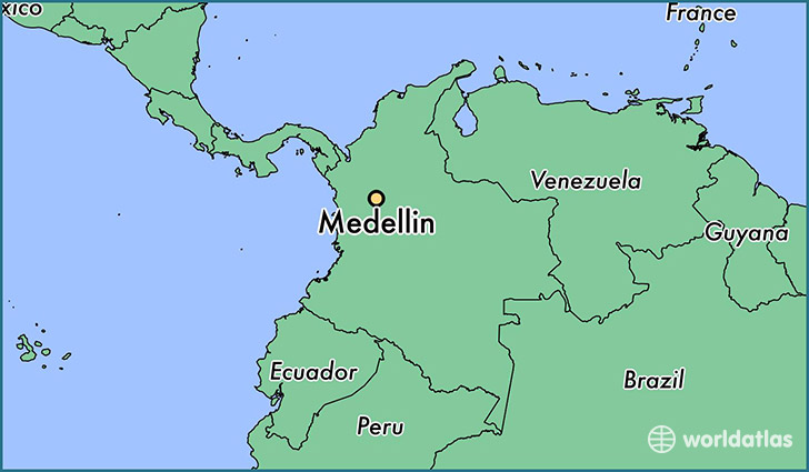 map showing the location of Medellin