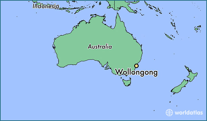 map showing the location of Wollongong