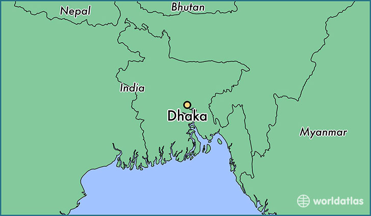 map showing the location of Dhaka