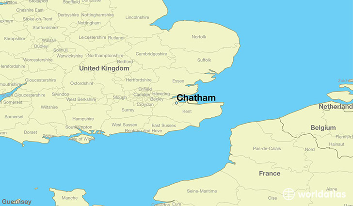 map showing the location of Chatham