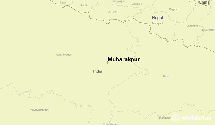 map showing the location of Mubarakpur