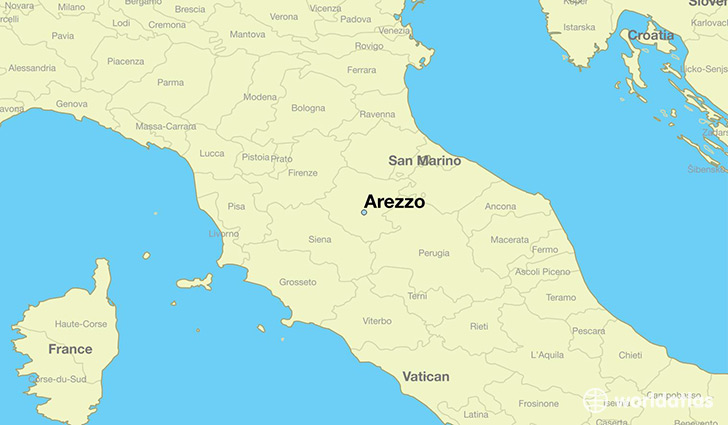 map showing the location of Arezzo