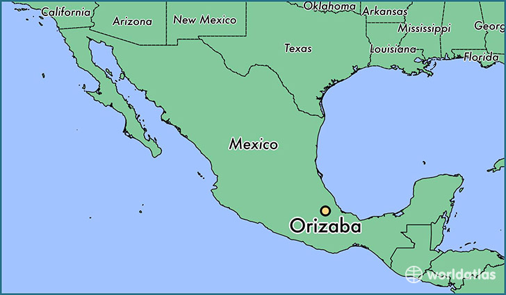 map showing the location of Orizaba