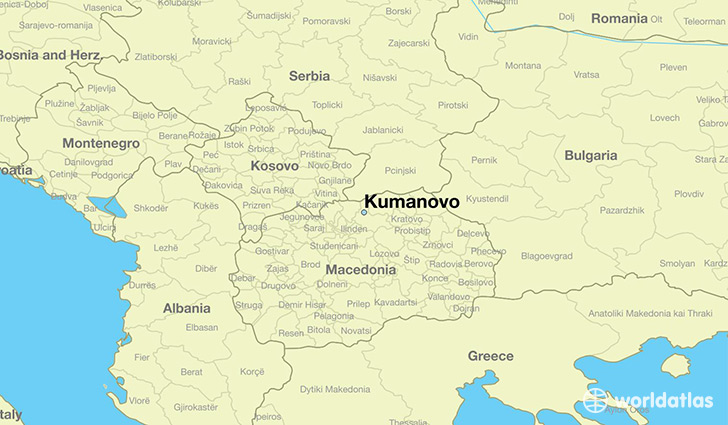 map showing the location of Kumanovo