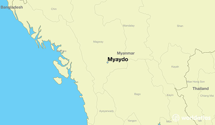 map showing the location of Myaydo