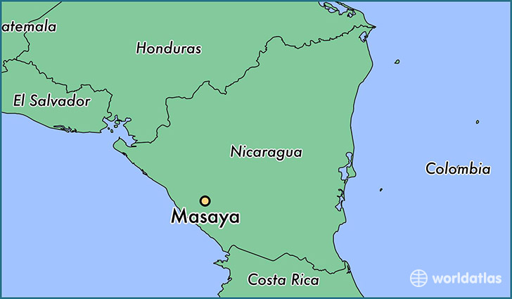 map showing the location of Masaya