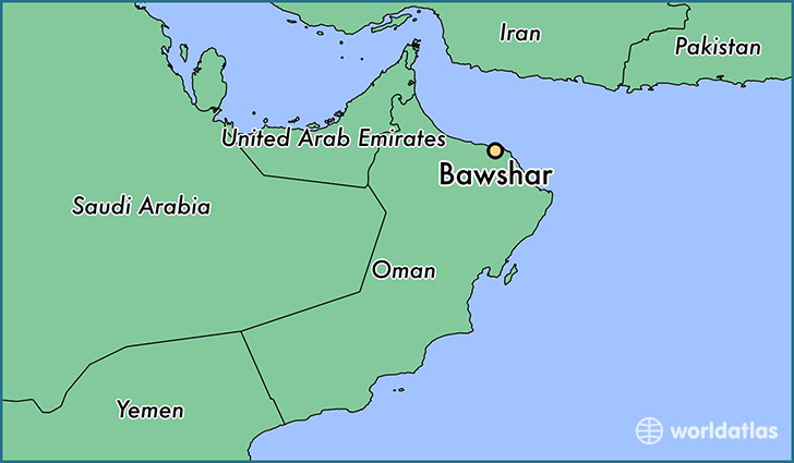 map showing the location of Bawshar
