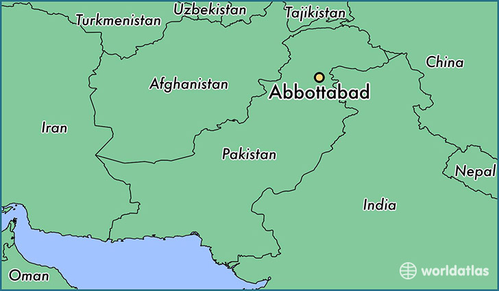 map showing the location of Abbottabad