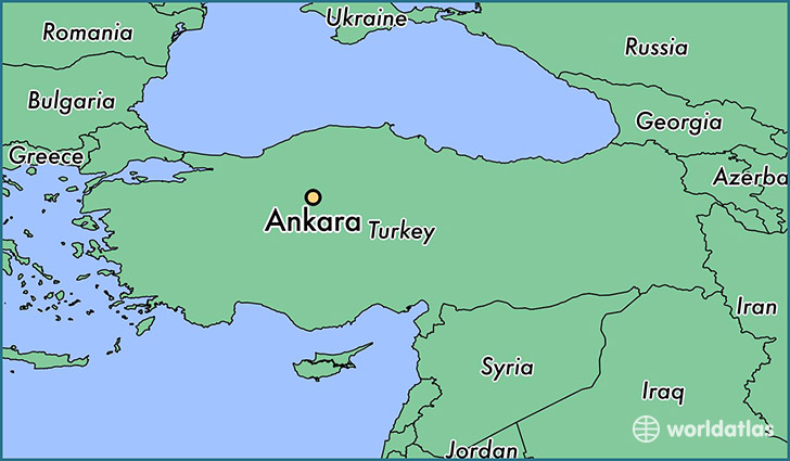 map showing the location of Ankara