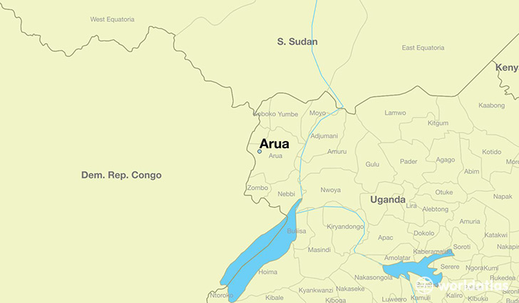 map showing the location of Arua