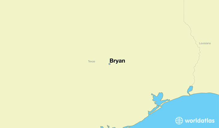 map showing the location of Bryan