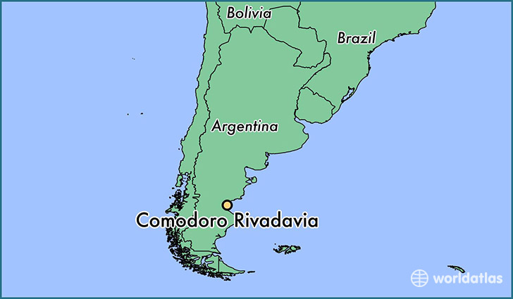 map showing the location of Comodoro Rivadavia