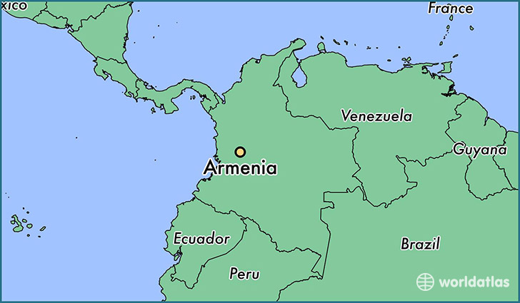 map showing the location of Armenia