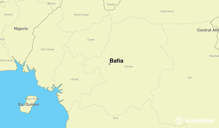 map showing the location of Bafia