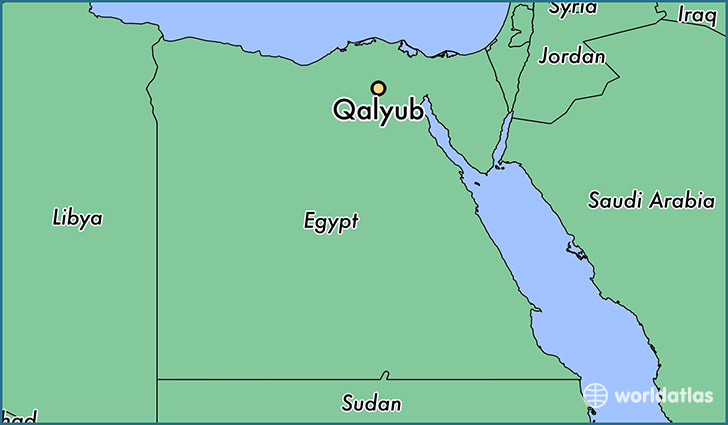 map showing the location of Qalyub