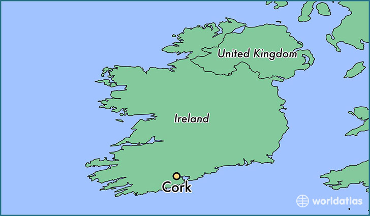 map showing the location of Cork